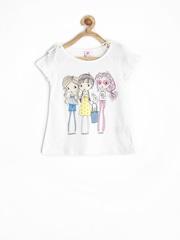 SELA Girls White Printed Top