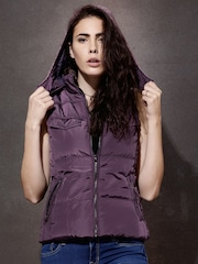 Roadster Purple Padded Sleeveless Jacket