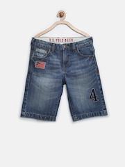 U.S. Polo Assn. Kids Boys Blue Washed 3/4th Denim Shorts