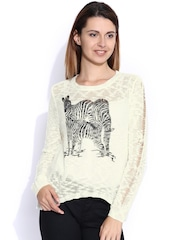 Mast & Harbour Off-White Printed Sweater
