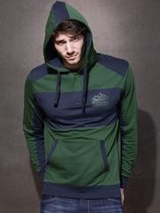 Roadster Green & Blue Hooded Sweatshirt