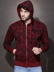 Roadster Maroon & Black Printed Hooded Sweatshirt