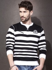 Roadster Black & White Striped Sweatshirt