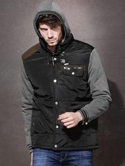 Roadster Black Padded Hooded Jacket