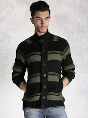 RDSTR Black & Green Striped Cardigan