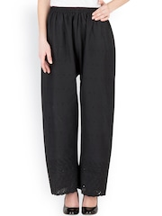 Castle Black Embroidered Casual Palazzo Trousers