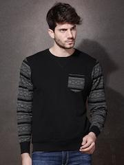 Roadster Black & Grey Printed Sweatshirt