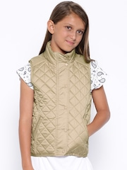 YK Girls Beige Quilted Sleeveless Jacket