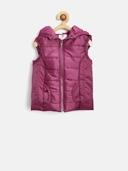 YK Girls Magenta Hooded Sleeveless Jacket