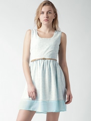 Mast & Harbour Sea Green & White Printed A-Line Dress