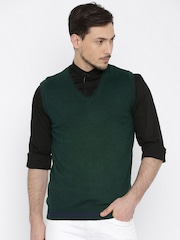 Wills Lifestyle Green Sleeveless Sweater