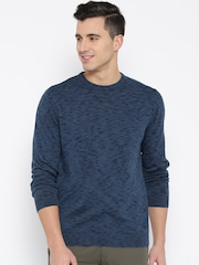 Wills Lifestyle Men Blue Sweater with Grindle Effect