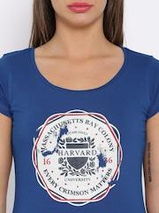 HARVARD Blue Printed T-shirt