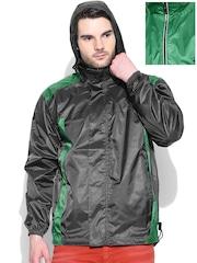 Sports52 wear Grey & Green Reversible Hooded Wind Cheater Jacket