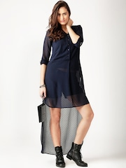 All About You from Deepika Padukone Navy High-Low Sheer Tunic