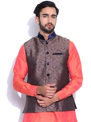 Manyavar Brown & Blue Nehru Jacket with Woven Pattern