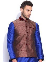 Manyavar Men Maroon & Grey Nehru Jacket