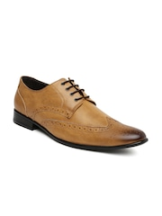 San Frissco Men Tan Brown Leather Brogue Formal Shoes