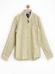 Gini & Jony Gold Boys Yellow & Grey Striped Slim Linen Shirt