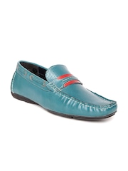 Alberto Torresi Men Teal Blue Leather Loafers