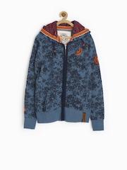 Jn Joy Boys Blue Printed Hooded Sweatshirt