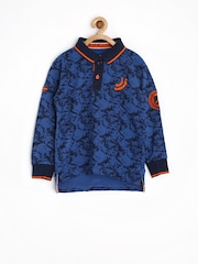 Jn Joy Boys Blue Printed Polo T-shirt