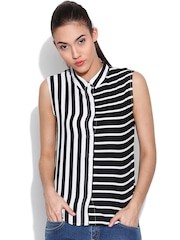 United Colors of Benetton Black Striped Casual Shirt