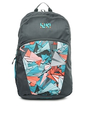 Wiki by Wildcraft Unisex Grey & Blue Fixie Printed Backpack
