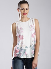 GUESS Off-White Floral Print Top