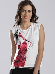 GUESS Off-White Printed Top with Knot Detail