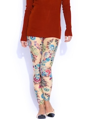FunkyFish Beige Floral Print Tights
