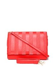 Parfois Red Textured Shoulder Bag with Sling Straps
