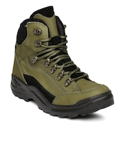 Franco Leone Men Olive Green Leather Boots