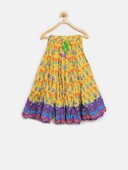 BIBA Girls Yellow Printed Flared Maxi Skirt