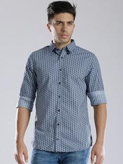 Tommy Hilfiger Blue Printed Slim Fit Casual Shirt