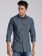 Tommy Hilfiger Blue Printed Chambray Casual Shirt