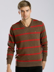 Tommy Hilfiger Brown & Red Striped Sweater