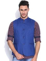 Pepe Jeans Blue Linen Nehru Jacket