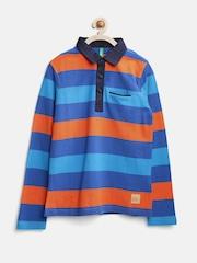 United Colors of Benetton Boys Blue & Orange Striped Polo T-shirt