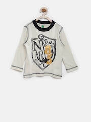 United Colors of Benetton Boys Cream-Coloured Printed T-shirt