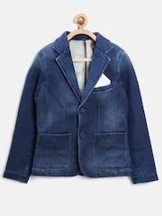 United Colors of Benetton Boys Blue Washed Denim Blazer