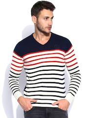 Lee Off-White & Navy Striped Sweater