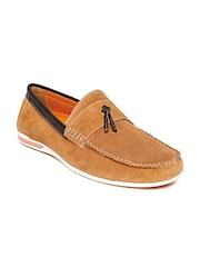 Bata Men Tan Brown Suede Loafers