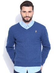 U.S. Polo Assn. Blue Cable Knit Lambswool Sweater