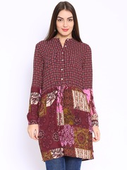 Folklore Burgundy Printed Fit & Flare Dress