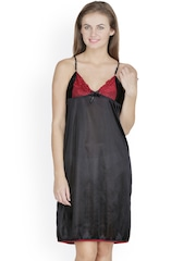 Klamotten Black Satin Chemise Nightdress X63