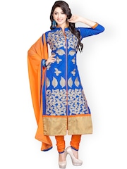 Blissta Blue Embroidered Cotton Unstitched Dress Material