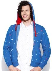 Cloak & Decker by Monte Carlo Blue Printed Hooded Sweatshirt