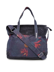 Roxy Navy Tropical Print Oversized Sling Bag