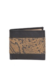 BRUNE Men Black Snakeskin Patterned Leather Wallet